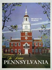 Independence Hall, Pennsylvania. North American Vintage Tourism Poster.